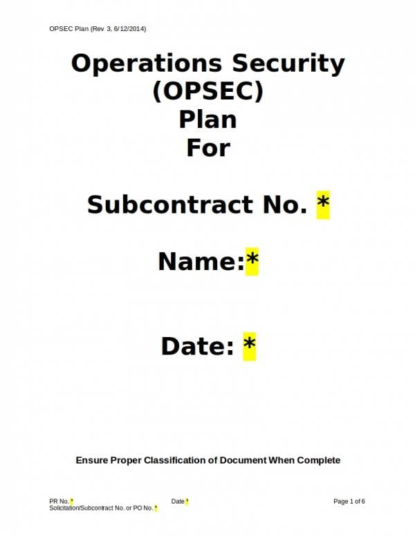 Editable Operations Security Plan For Security Operational Plan Samples Templates
