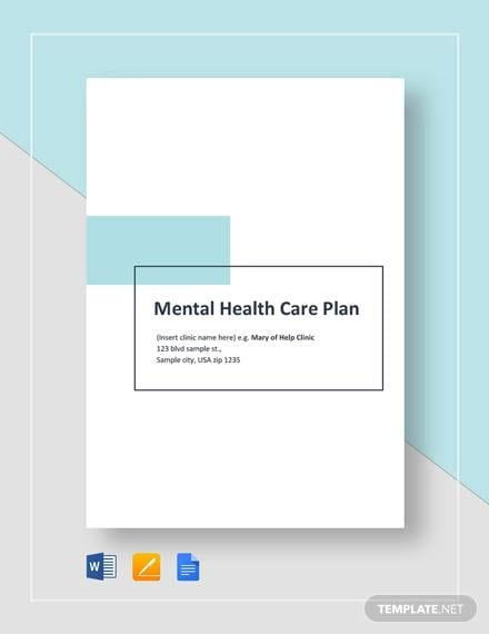 Sample Mental Health Care Plan Template for Care Plan