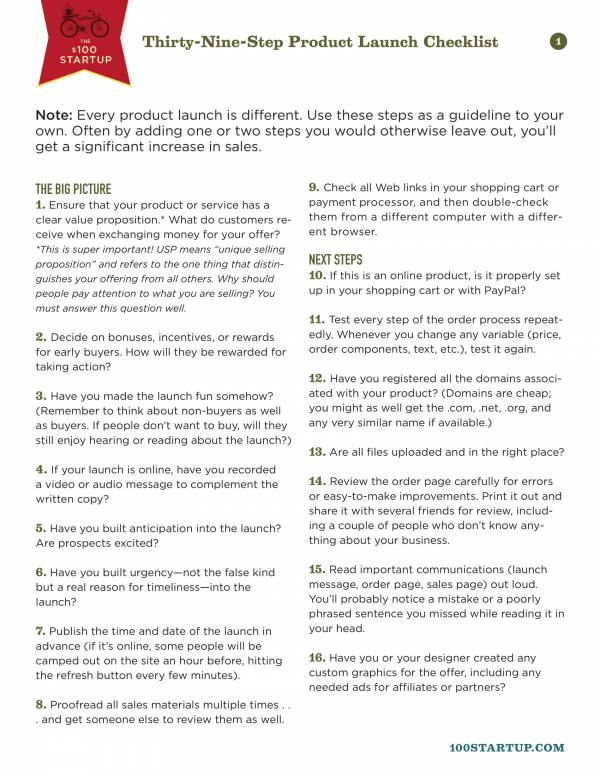 Thirty Nine Step Product Launch Checklist 1 for Product Launch Plan Template Pdf Word