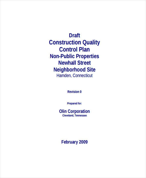 Construction Quality Control For Control Plan