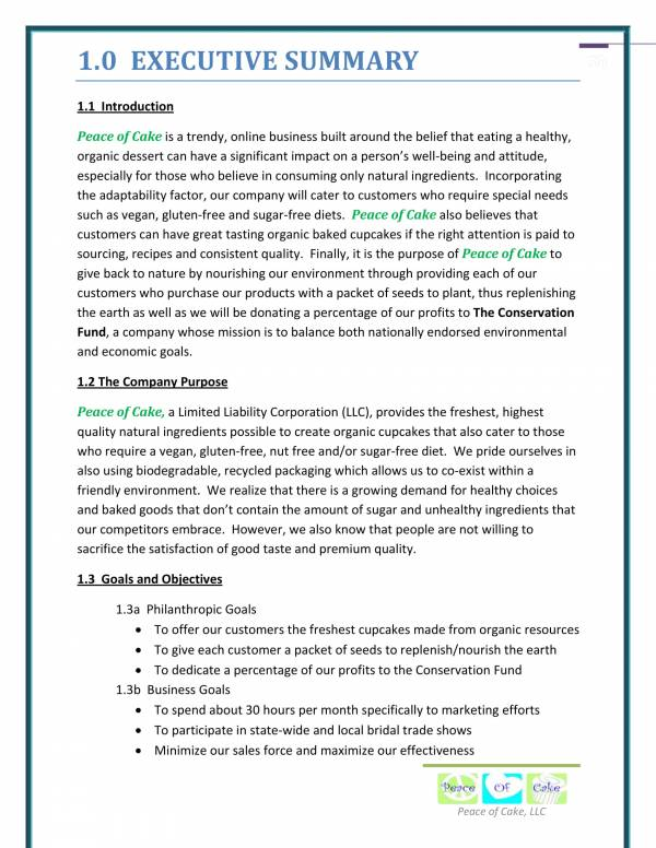 Piece of Cake Business Plan 04 for Bakery Business Plans Pdf