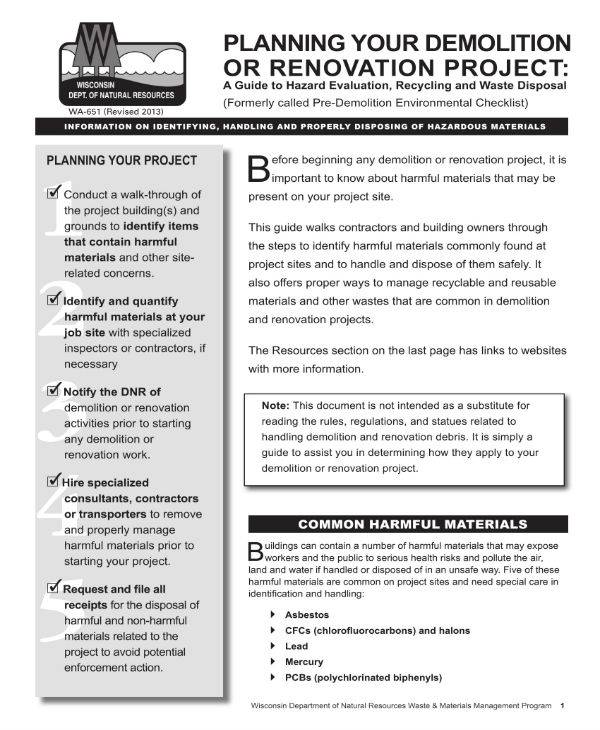 Renovation or Demolition Project Plan Template for Home Renovation Project Plan Pdf