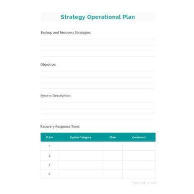 Simple Operational Plan Template for Operational Plan For Restaurant Pdf