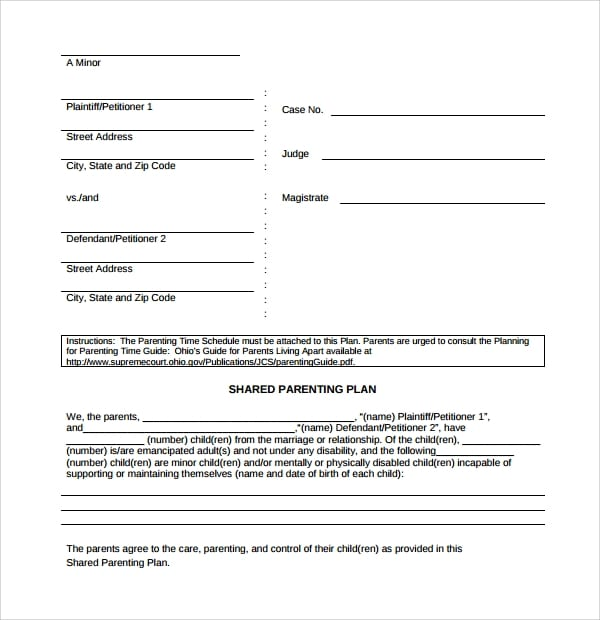 Simple Parenting Plan Template for Parenting Plan Template