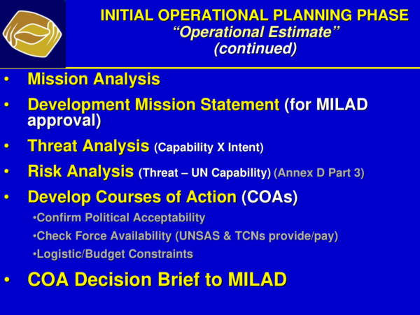 UN HQ Operational Planning Process for Peace 11 for Military Operational Plan Samples