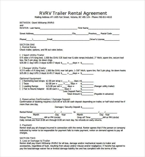 Utility Trailer Rental Agreement for Trailer Rental Agreement Template