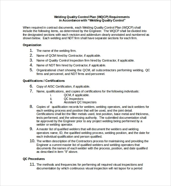 Welding Quality Control Plan Template for Quality Control Plan Template