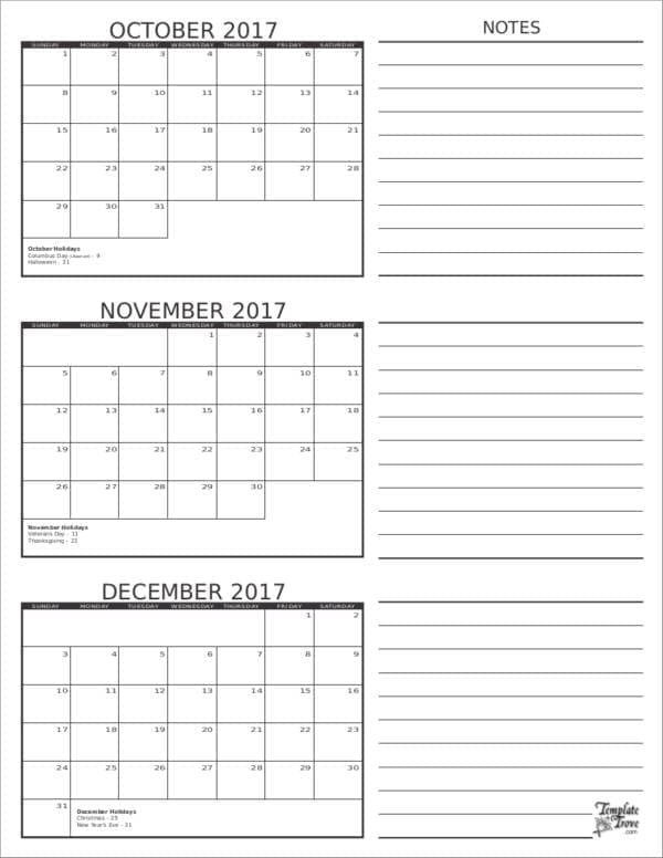 3 Months Planner Template For Monthly Planner Template