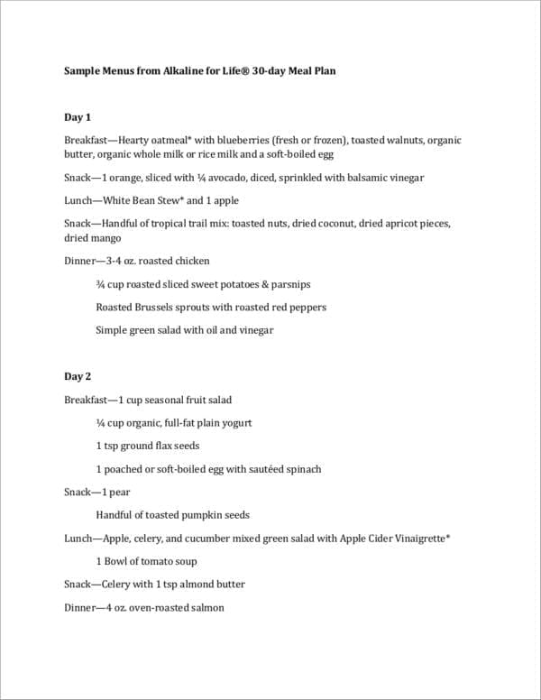 Alkaline Meal Plan Sample For Printable Meal Planners