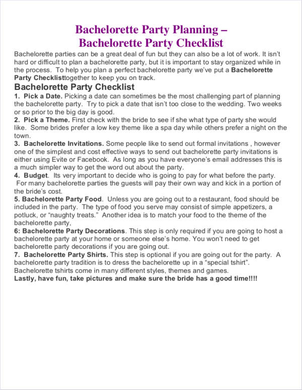 Bachelorette Party Planner Sample For Party Planner Samples
