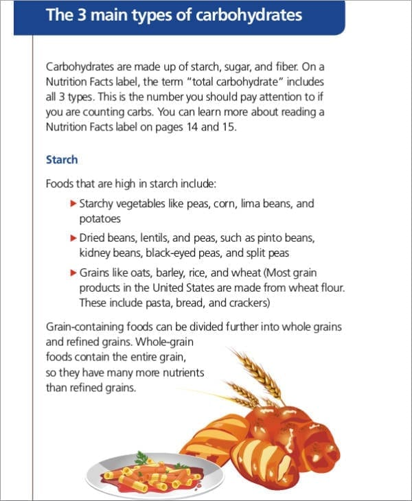 Counting Carbs And Meal Planning Sample For Printable Meal Planners