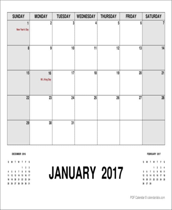 Monthly Planner Template With Holidays For Day Planner Samples