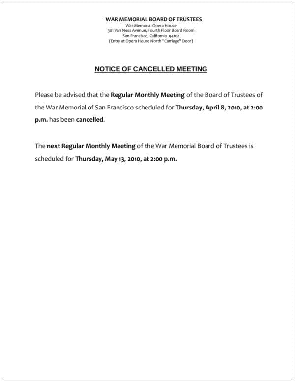Sample Notice of Cancelled Meeting for Meeting Notice Samples