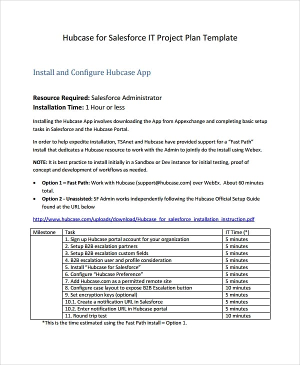 Simple IT Project Plan Template for It Project Plan Template