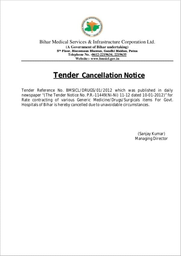 Tender Cancellation Notice for Cancellation Notice