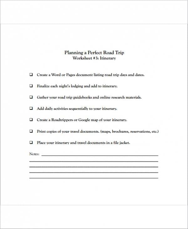 Travel Planner Template For A Perfect Trip For Travel Planner Templates