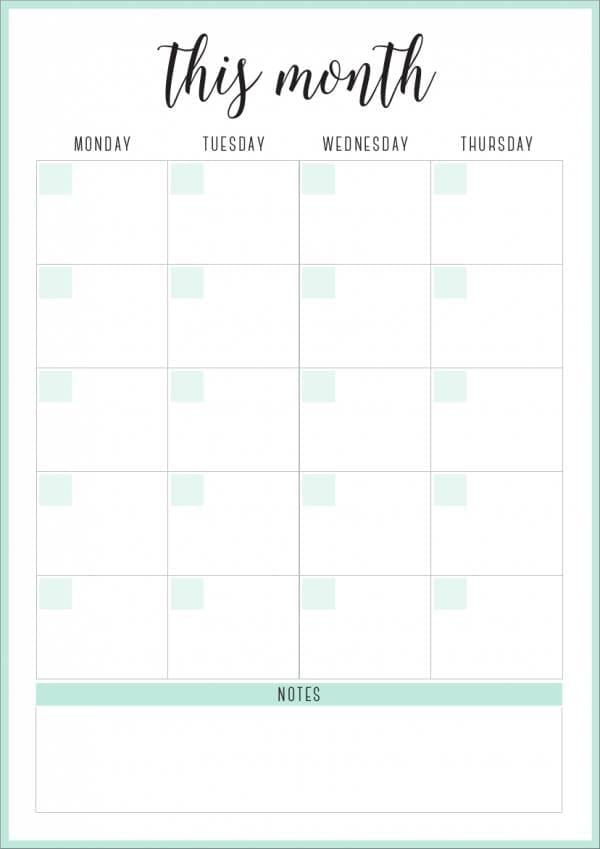 Vertical Monthly Planner Template for Monthly Planner Template