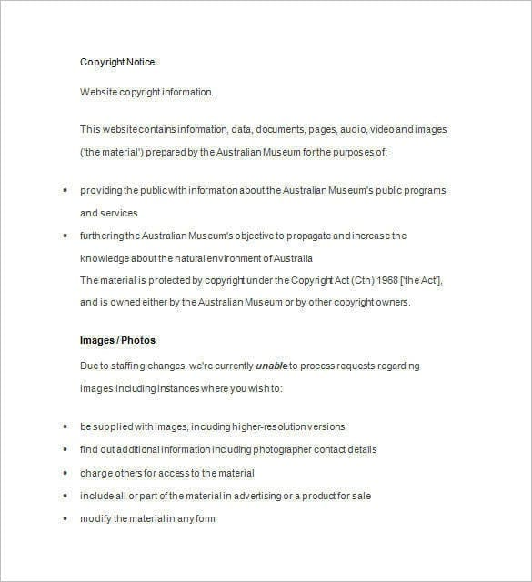 Website Copyright Notice1 for Notice Templates Word
