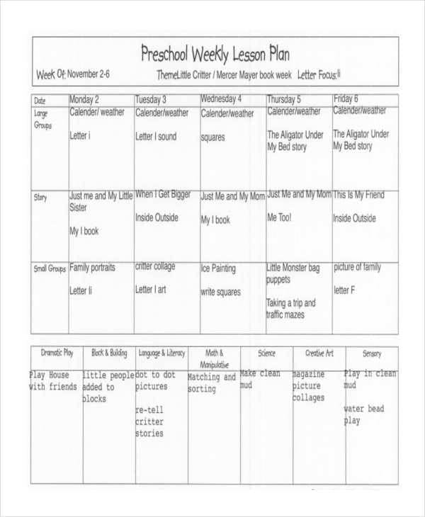 Weekly Lesson Plan for Preschool for Lesson Plan Formats