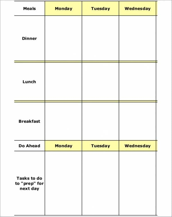 Weekly Meal Planner Template for Printable Meal Planners