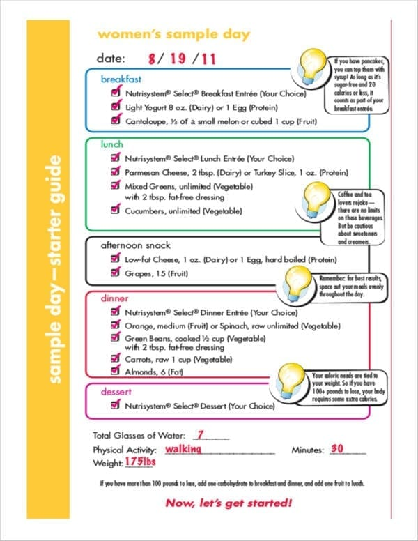 Womens Meal Planner for Meal Planner Template
