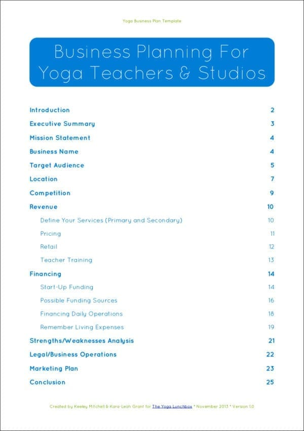 YLB Yoga Business Plan Guide for Build Business Plan