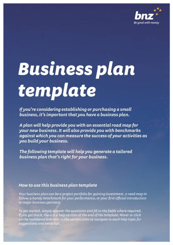 small Business plan template for Business Plan Elements