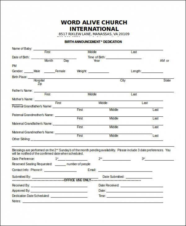 Birth Notice Template For Church For Free Notice Template
