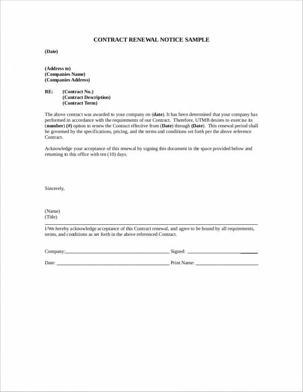 Contract Renewal Notice Sample1 For Renewal Notice Sample