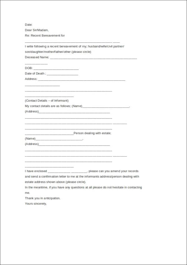 Death Notice Letter Template For Free Notice Template