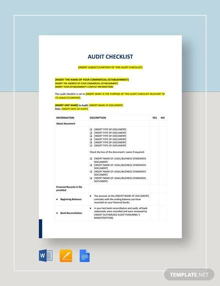 Sample Audit Checklist for Audit Checklist