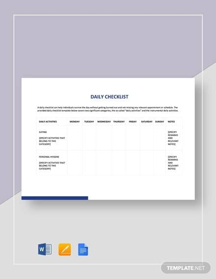 Sample Daily Checklist Template for Daily Checklist Sample