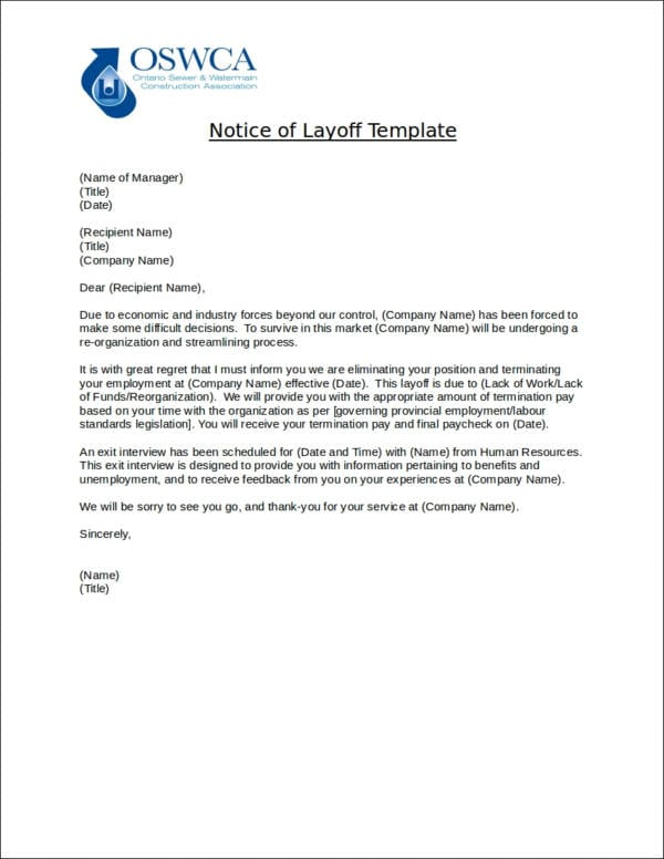 Sample Notice of Layoff Template for Layoff Notice Templates