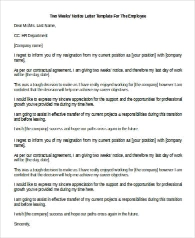 Two Weeks Notice Resignation Letter for Employee for Two Weeks Notice