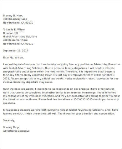 Two Weeks Notice Resignation Letter for Two Week Notice Email