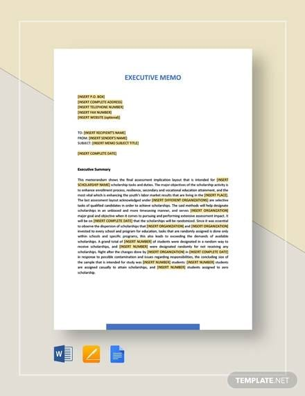 sample executive memo2 for Sample Executive Memo Template