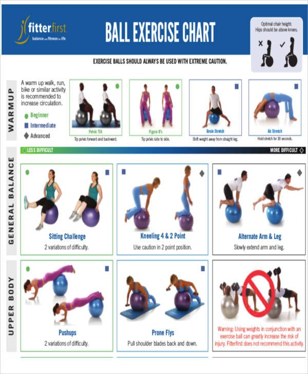 Ball Exercise Chart For Exercise Chart Templates For Exercise Chart Templates