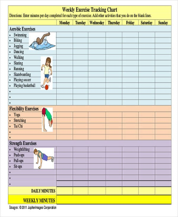 Chart For Exercise Tracking For Exercise Chart Templates For Exercise Chart Templates