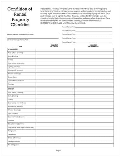 Condition Of Rental Property Inspection Chekclist Sample For Home Inspection Checklist Samples