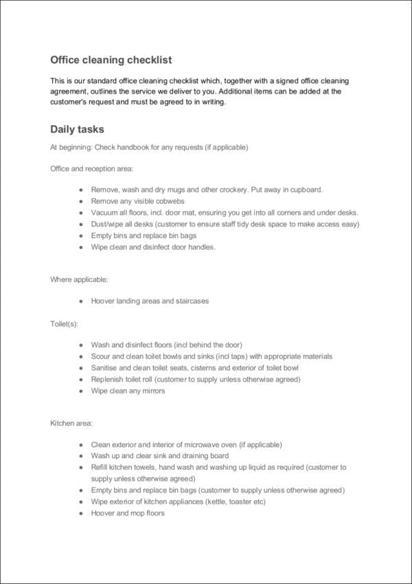 Daily Office Cleaning Checklist For Task Checklist Template