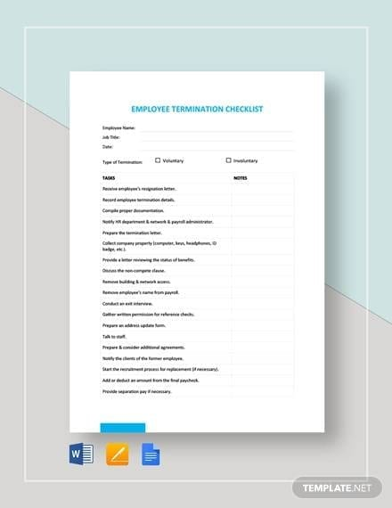 Employee Termination Checklist Template for Firing Employee Checklist