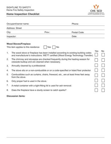 Home Fire Safety Inspection Checklist For Home Inspection Checklist Samples