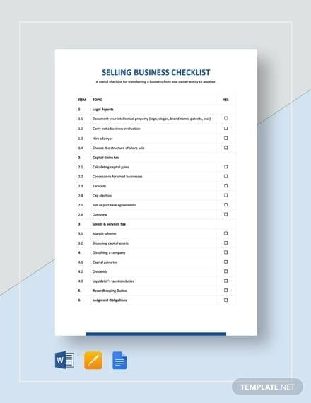 Selling Business Checklist Template for Selling Business Checklist