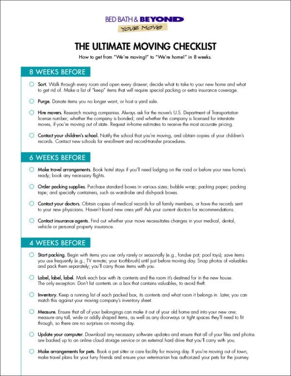 Ultimate Home Moving Checklist Template for Moving Checklists