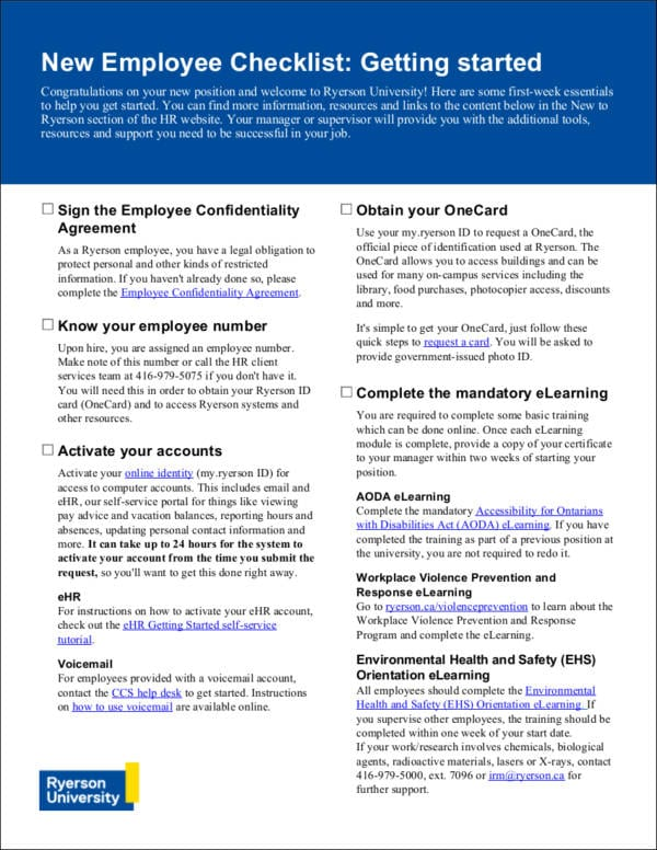 Useful New Hire Checklist for New Hire Checklist Samples