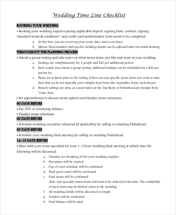 Wedding Timeline Checklist PDF for Wedding Checklist Pdf