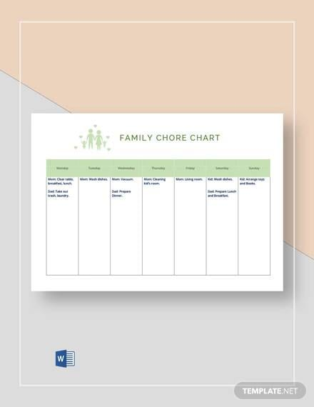 Weekly Chore Chart for Family 1