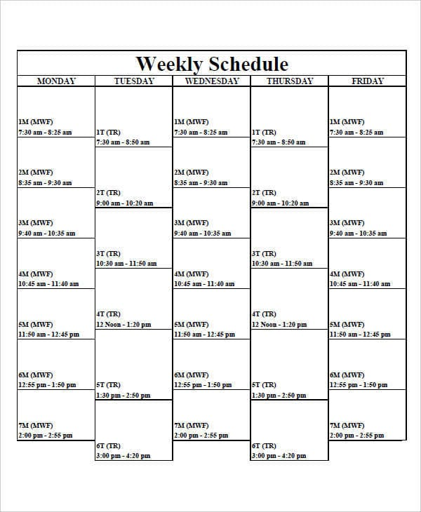 Weekly Time Schedule Chart1 for Free Time Chart