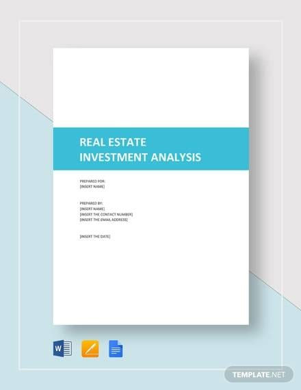 Real Estate Investment Analysis1 for Investment Analysis Sample