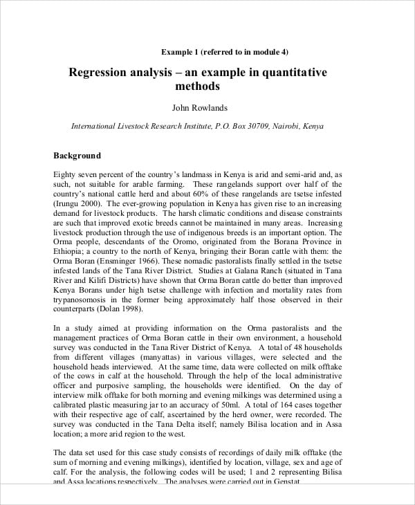 Research Regression Analysis for Sample Research Analysis